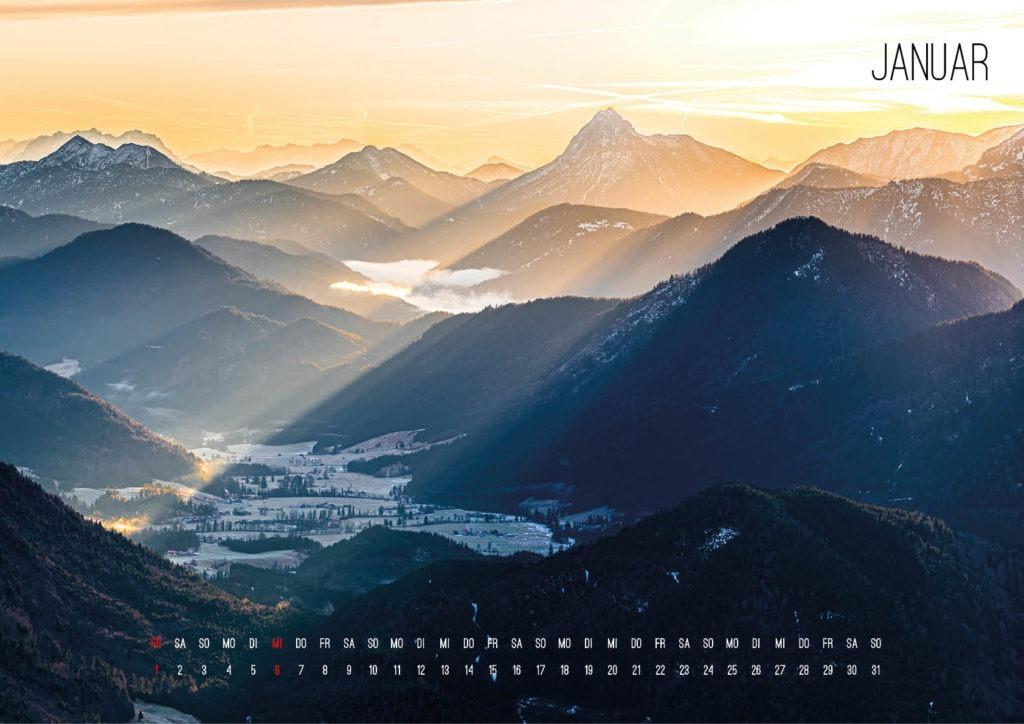 Bild Kalender 2021 Die Alpen Januar