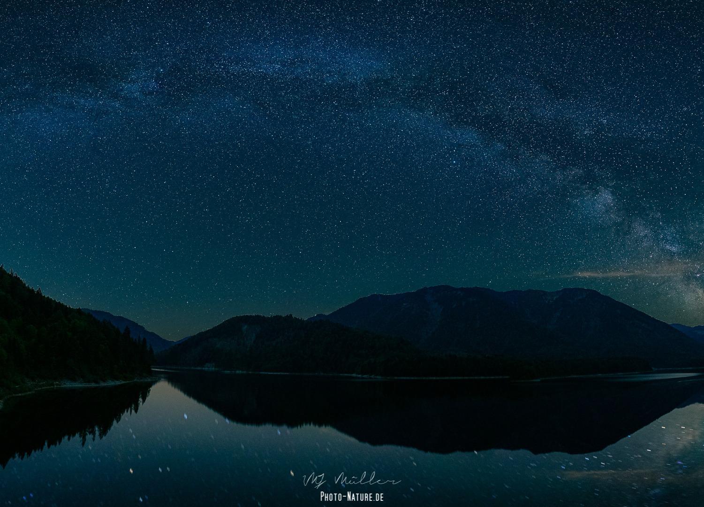 Panorama über den Sylvensteinsee mit der Milchstraße